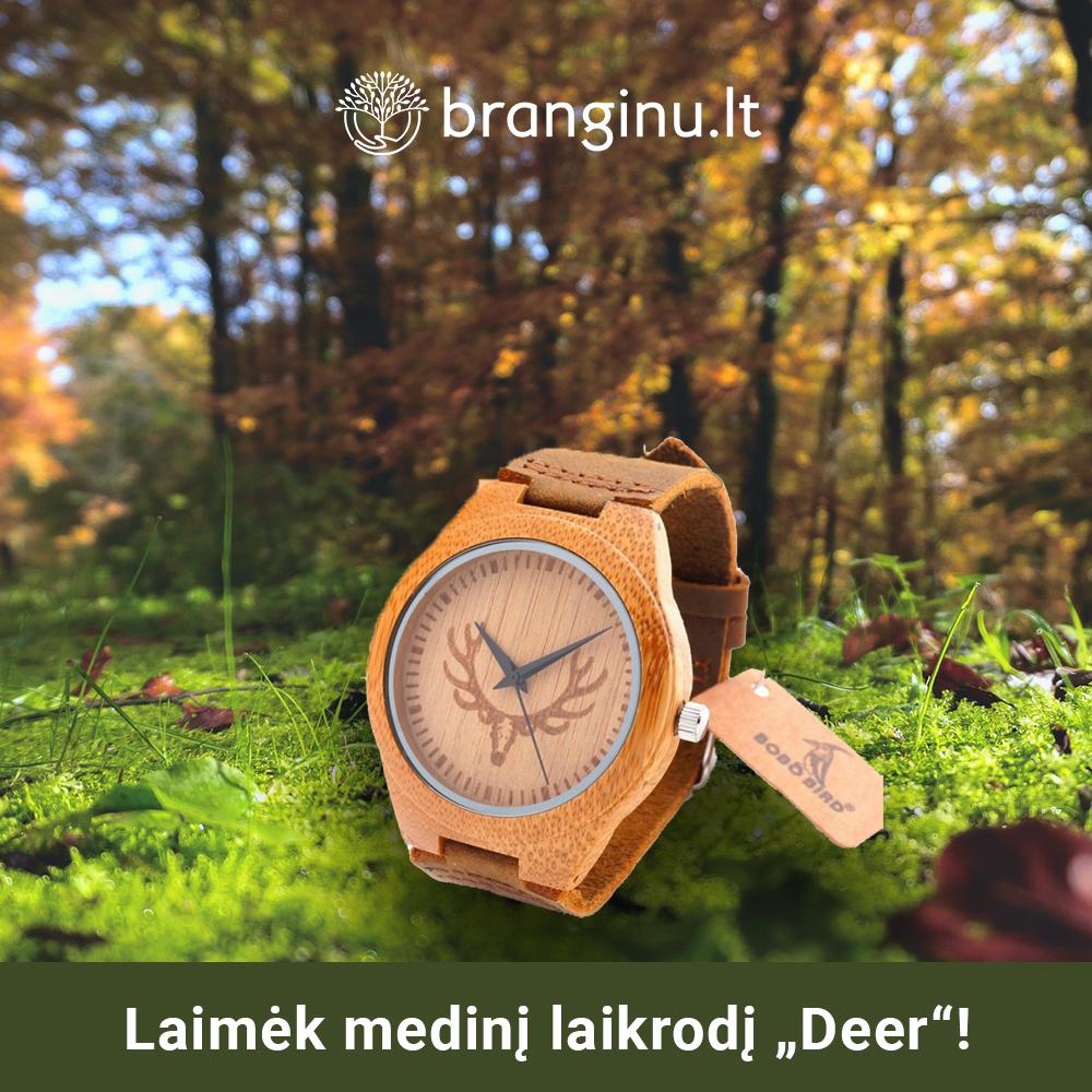 """Laimėk medinį laikrodį """"Deer""""!"""